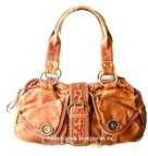 Melie Bianco Distressed Button Satchel_expresso