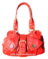 Melie Bianco Distressed Button Satchel_red